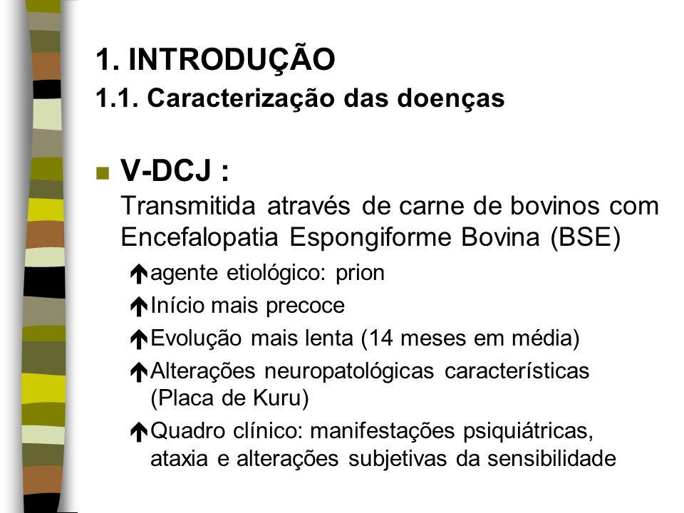 1. INTRODUÇÃO 1.1. Caracterização das doenças n V-DCJ : Transmitida através de carne de bovinos com Encefalopatia Espongiforme Bovina (BSE) éagente et
