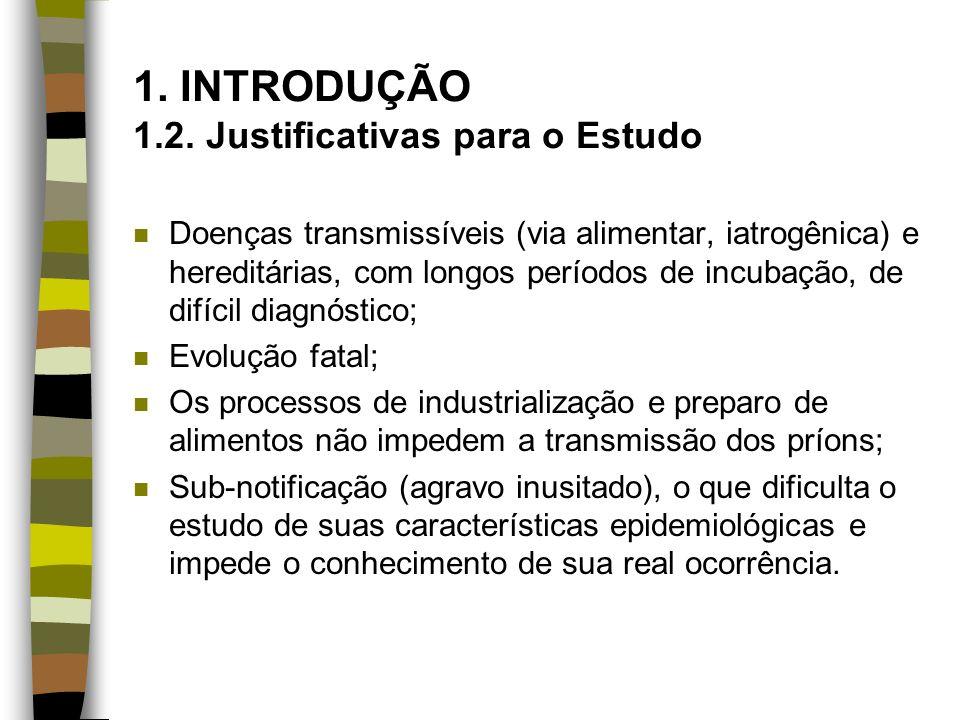 1. INTRODUÇÃO 1.2. Justificativas para o Estudo n Doenças transmissíveis (via alimentar, iatrogênica) e hereditárias, com longos períodos de incubação