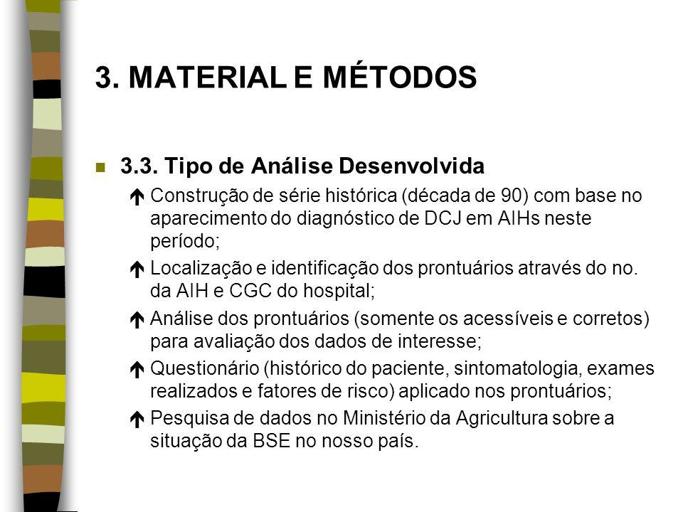 3. MATERIAL E MÉTODOS n 3.3. Tipo de Análise Desenvolvida éConstrução de série histórica (década de 90) com base no aparecimento do diagnóstico de DCJ