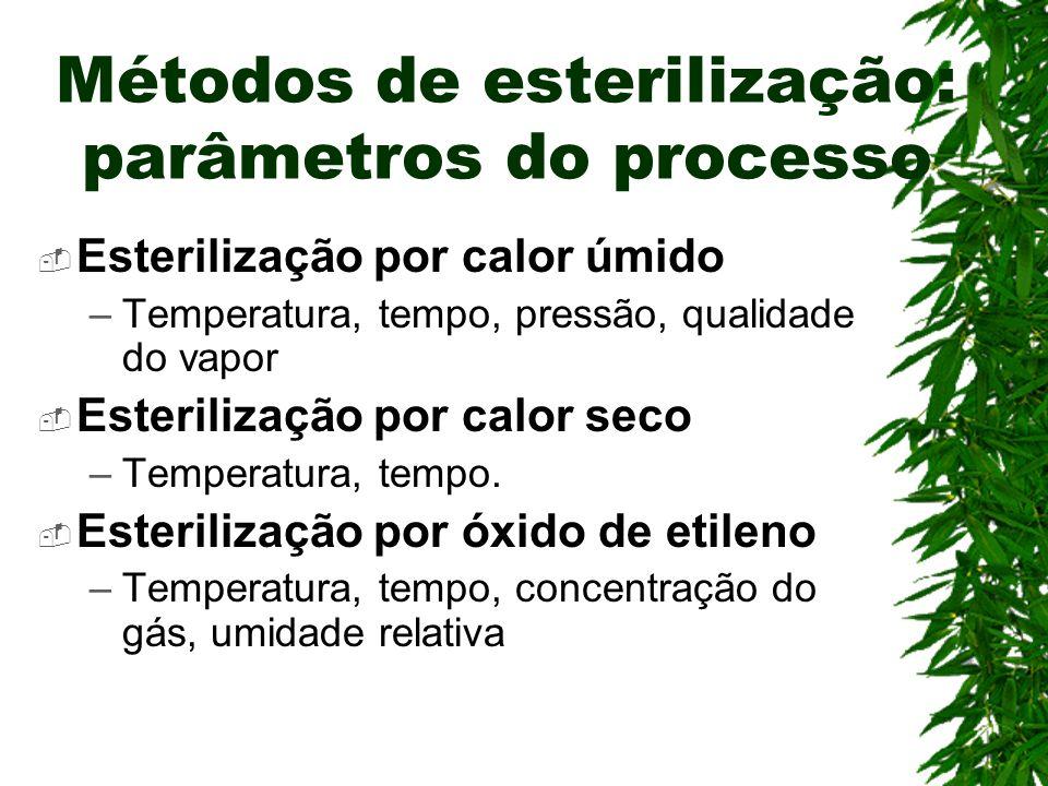 Métodos de esterilização: parâmetros do processo Esterilização por calor úmido –Temperatura, tempo, pressão, qualidade do vapor Esterilização por calo