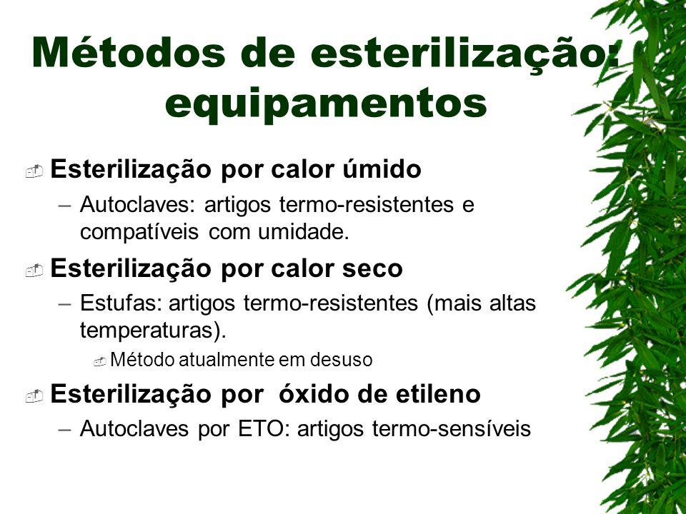 Métodos de esterilização: equipamentos Esterilização por calor úmido –Autoclaves: artigos termo-resistentes e compatíveis com umidade. Esterilização p
