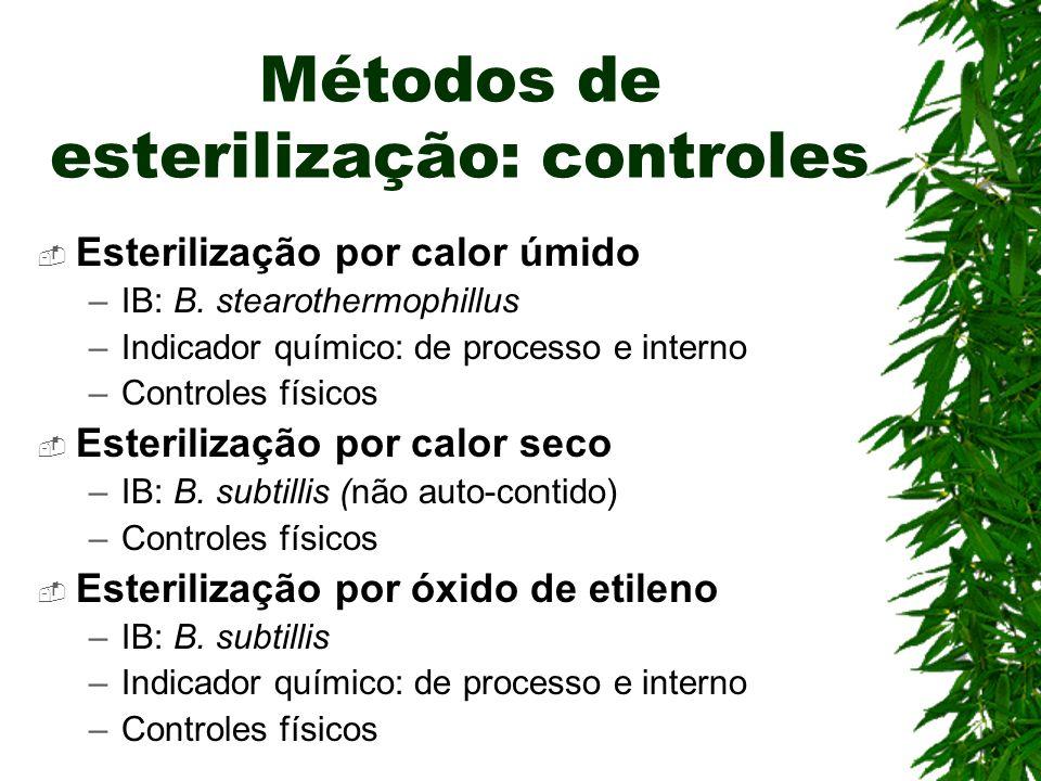 Métodos de esterilização: controles Esterilização por calor úmido –IB: B. stearothermophillus –Indicador químico: de processo e interno –Controles fís