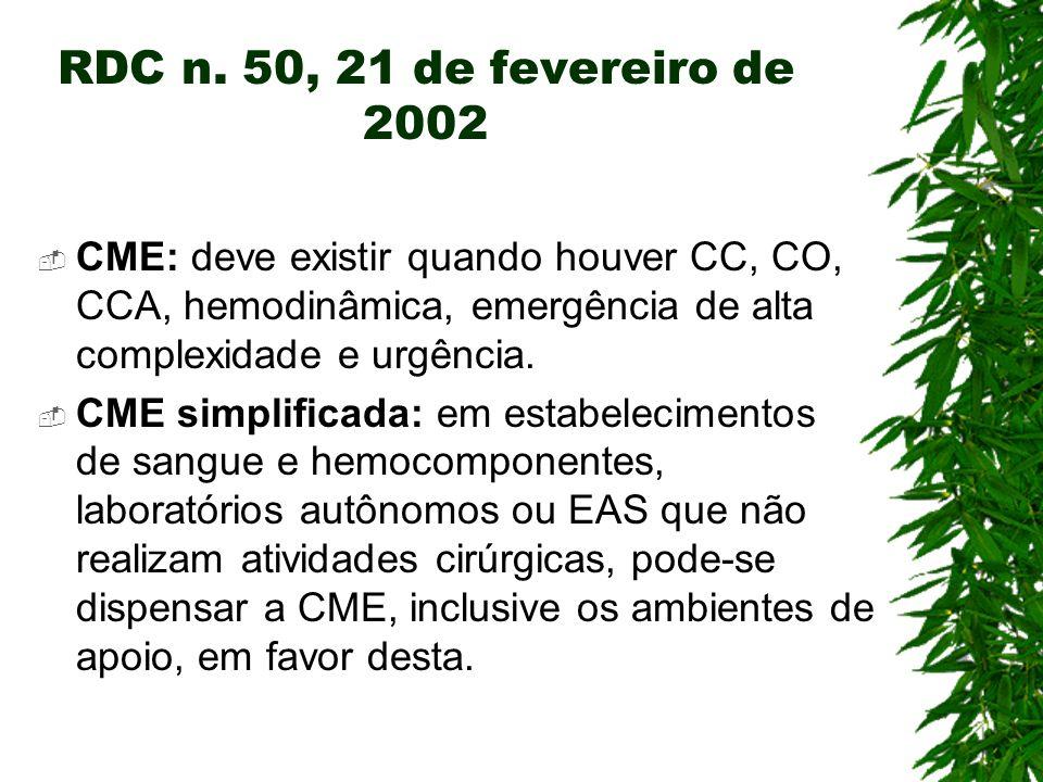 RDC n. 50, 21 de fevereiro de 2002 CME: deve existir quando houver CC, CO, CCA, hemodinâmica, emergência de alta complexidade e urgência. CME simplifi