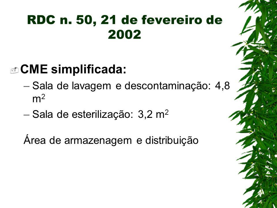 CME simplificada: –Sala de lavagem e descontaminação: 4,8 m 2 –Sala de esterilização: 3,2 m 2 Área de armazenagem e distribuição RDC n. 50, 21 de feve