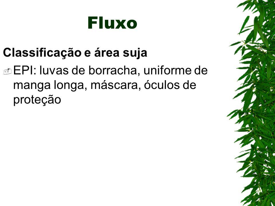Fluxo Classificação e área suja EPI: luvas de borracha, uniforme de manga longa, máscara, óculos de proteção