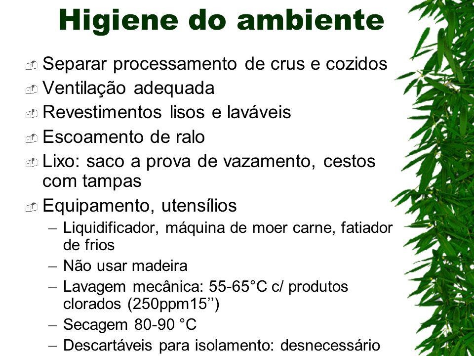 Higiene do ambiente Separar processamento de crus e cozidos Ventilação adequada Revestimentos lisos e laváveis Escoamento de ralo Lixo: saco a prova d