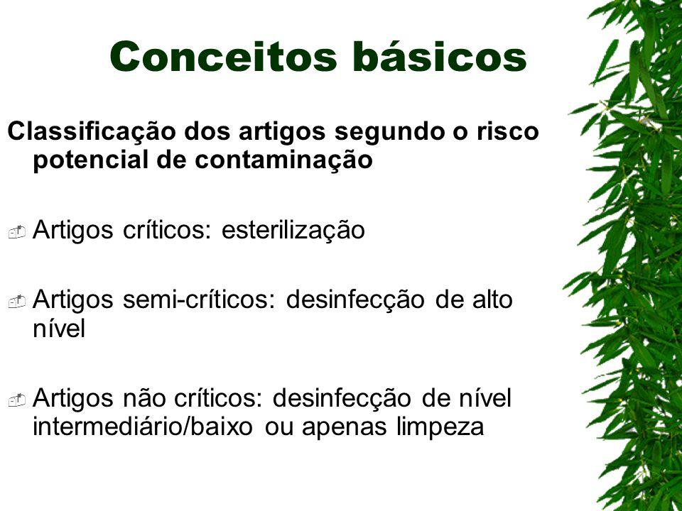 Conceitos básicos Classificação dos artigos segundo o risco potencial de contaminação Artigos críticos: esterilização Artigos semi-críticos: desinfecç