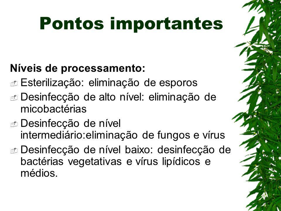 Pontos importantes Níveis de processamento: Esterilização: eliminação de esporos Desinfecção de alto nível: eliminação de micobactérias Desinfecção de