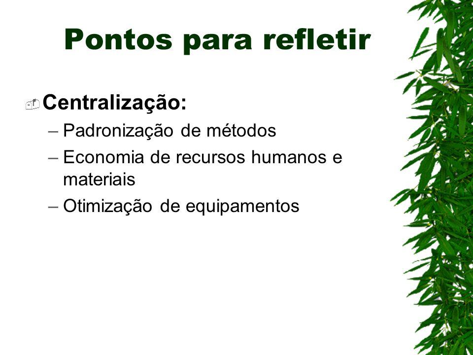 Pontos para refletir Centralização: –Padronização de métodos –Economia de recursos humanos e materiais –Otimização de equipamentos