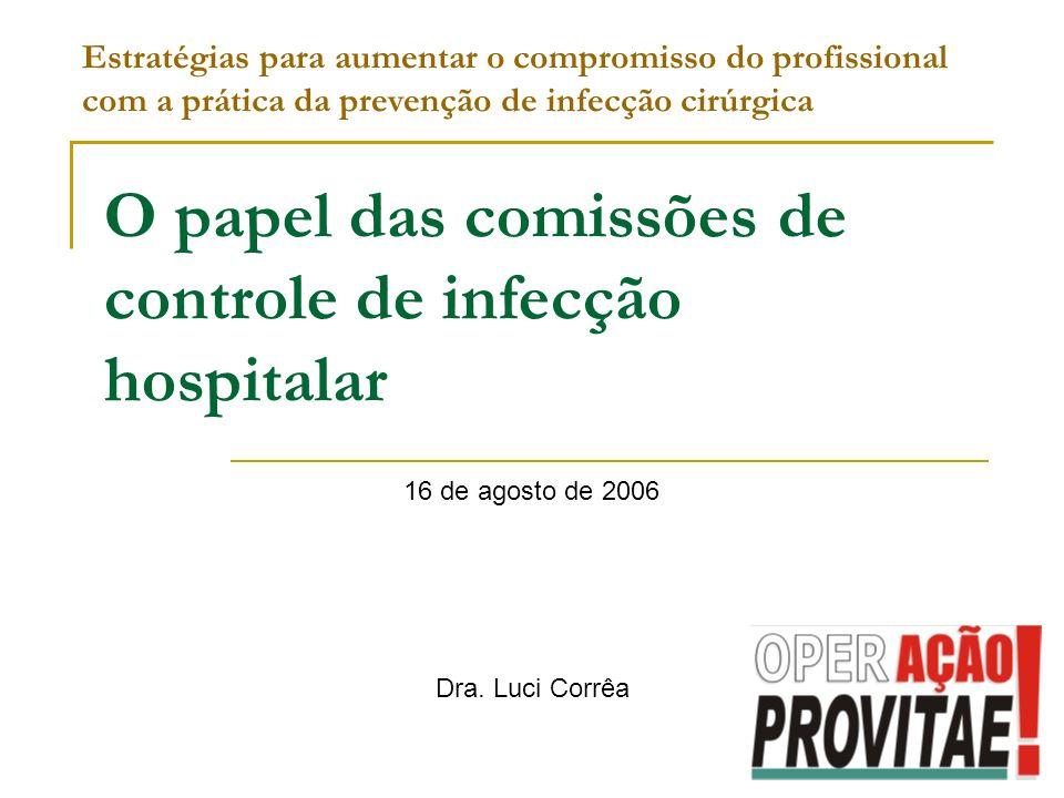 O papel das comissões de controle de infecção hospitalar 16 de agosto de 2006 Estratégias para aumentar o compromisso do profissional com a prática da