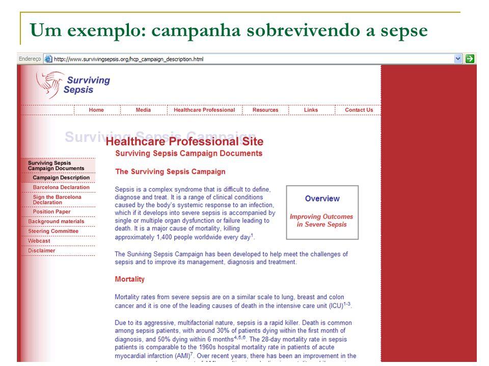 Um exemplo: campanha sobrevivendo a sepse