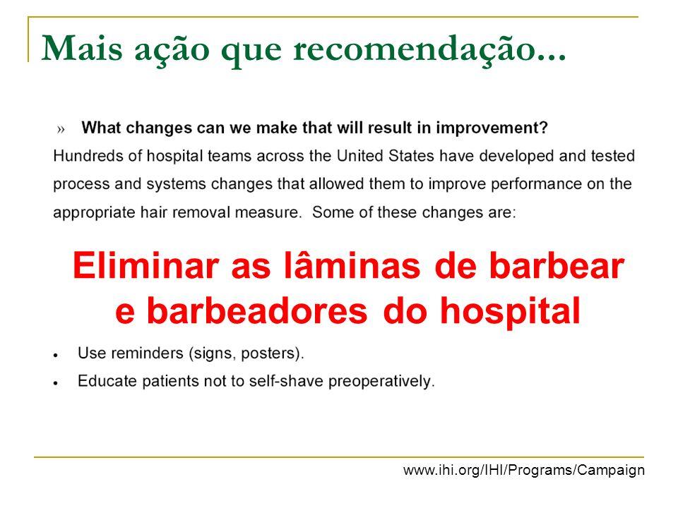 Mais ação que recomendação... Eliminar as lâminas de barbear e barbeadores do hospital www.ihi.org/IHI/Programs/Campaign