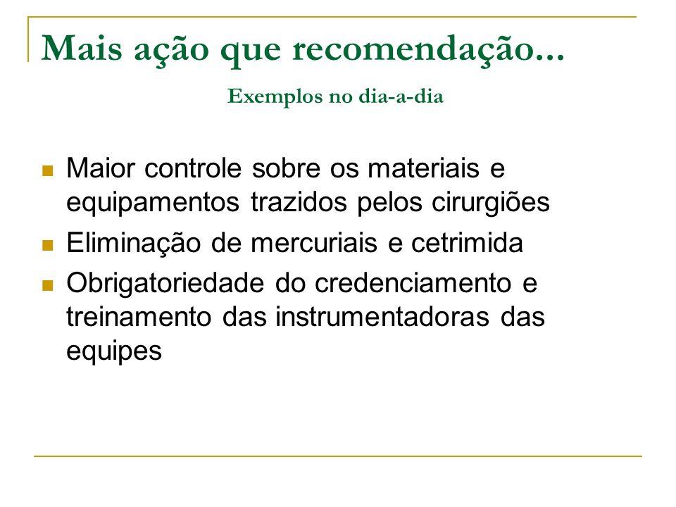 Maior controle sobre os materiais e equipamentos trazidos pelos cirurgiões Eliminação de mercuriais e cetrimida Obrigatoriedade do credenciamento e tr