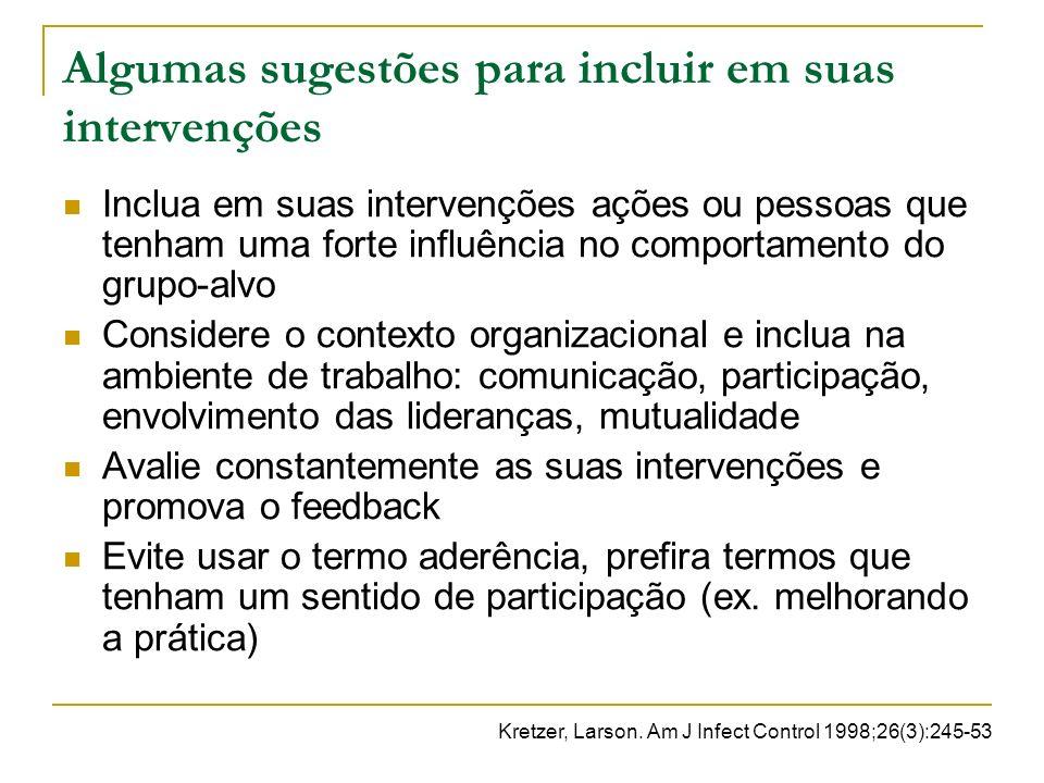 Algumas sugestões para incluir em suas intervenções Inclua em suas intervenções ações ou pessoas que tenham uma forte influência no comportamento do g