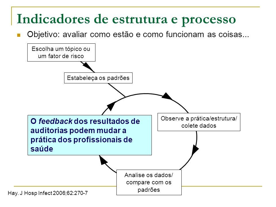 Indicadores de estrutura e processo Objetivo: avaliar como estão e como funcionam as coisas... Escolha um tópico ou um fator de risco Estabeleça os pa