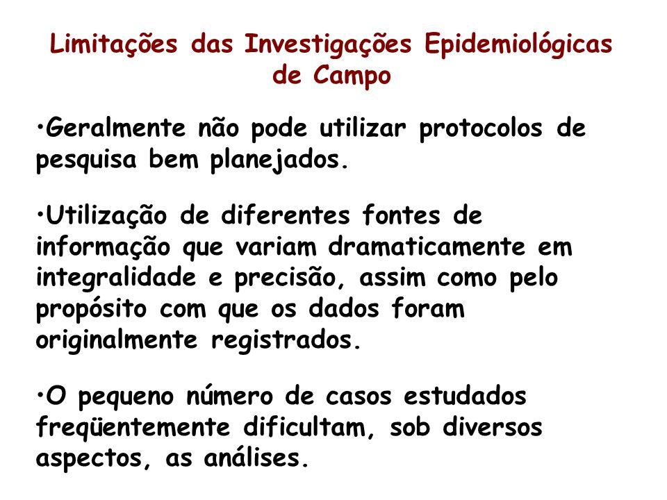 Limitações das Investigações Epidemiológicas de Campo Geralmente não pode utilizar protocolos de pesquisa bem planejados. Utilização de diferentes fon