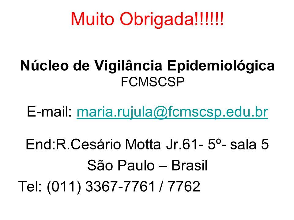 Muito Obrigada!!!!!! Núcleo de Vigilância Epidemiológica FCMSCSP E-mail: maria.rujula@fcmscsp.edu.brmaria.rujula@fcmscsp.edu.br End:R.Cesário Motta Jr