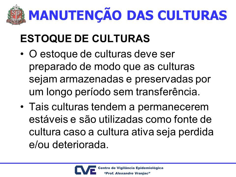 ESTOQUE DE CULTURAS O estoque de culturas deve ser preparado de modo que as culturas sejam armazenadas e preservadas por um longo período sem transfer