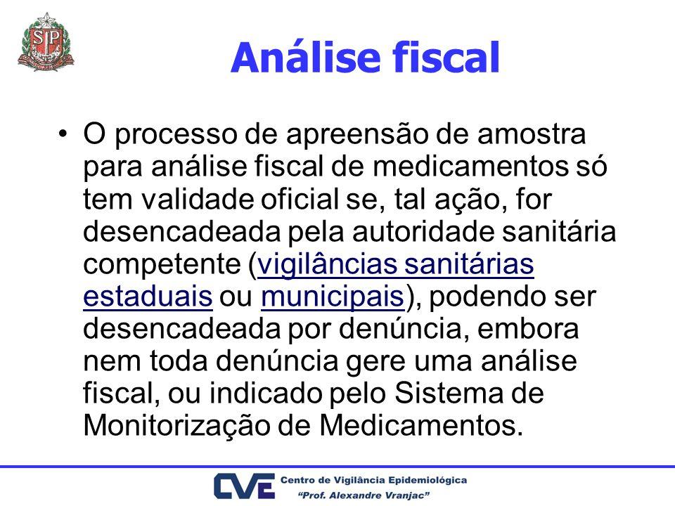 Análise fiscal O processo de apreensão de amostra para análise fiscal de medicamentos só tem validade oficial se, tal ação, for desencadeada pela auto
