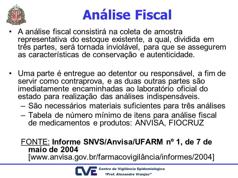 Análise Fiscal A análise fiscal consistirá na coleta de amostra representativa do estoque existente, a qual, dividida em três partes, será tornada inv