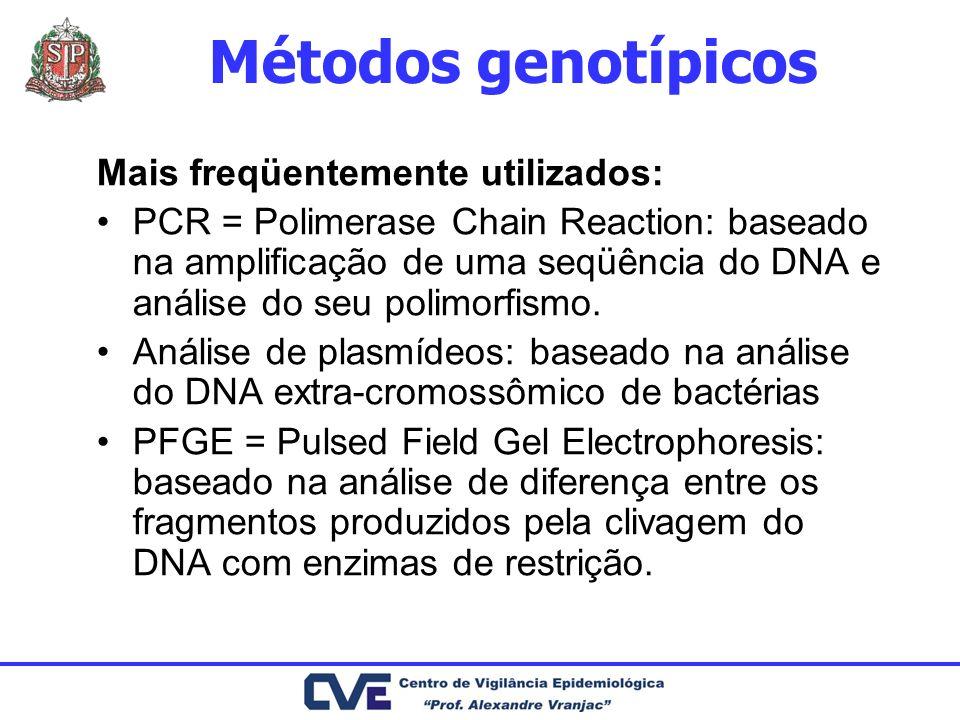 Métodos genotípicos Mais freqüentemente utilizados: PCR = Polimerase Chain Reaction: baseado na amplificação de uma seqüência do DNA e análise do seu
