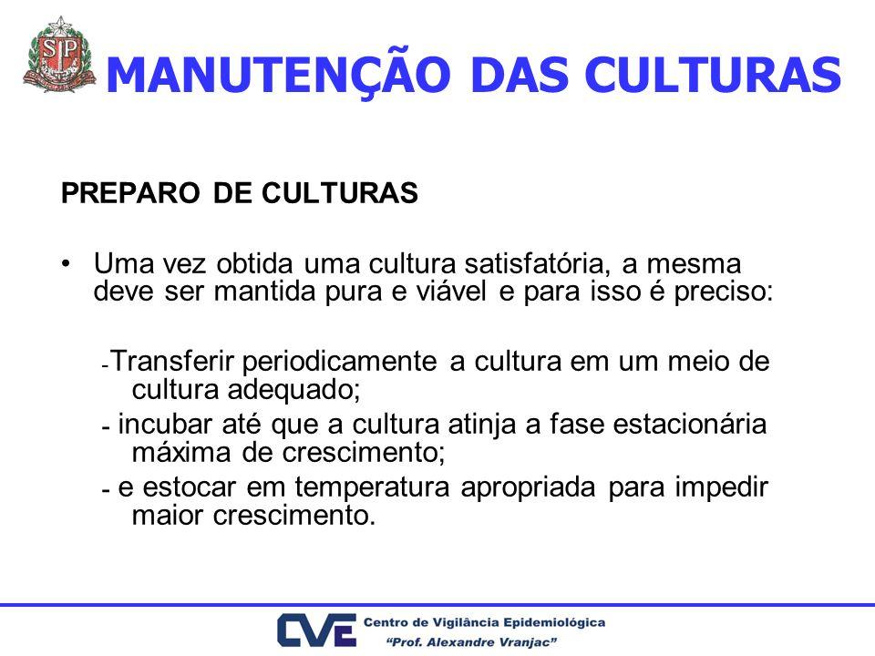 MANUTENÇÃO DAS CULTURAS PREPARO DE CULTURAS Uma vez obtida uma cultura satisfatória, a mesma deve ser mantida pura e viável e para isso é preciso: ـ T