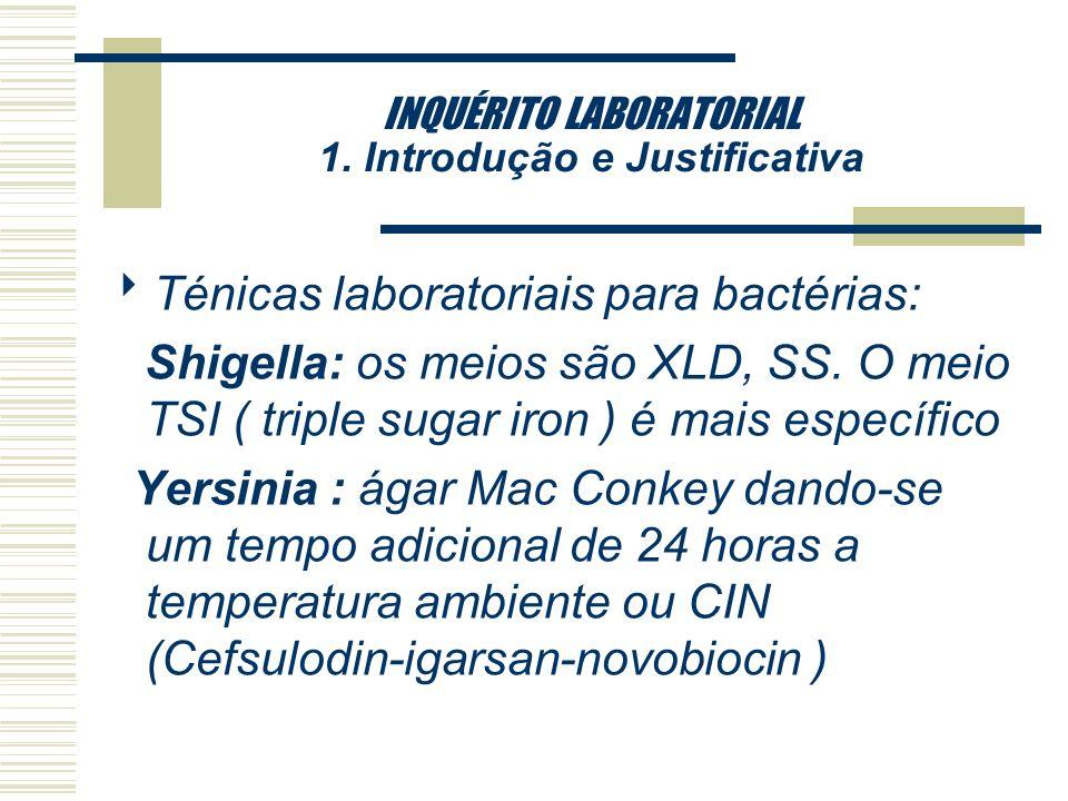 INQUÉRITO LABORATORIAL 1. Introdução e Justificativa Técnicas laboratoriais para bactérias: Salmonella : meios mais seletivos seriam : SS, XLD e Hekto