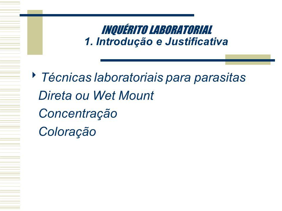 INQUÉRITO LABORATORIAL 1. Introdução e Justificativa Técnicas laboratoriais para vírus: Rotavírus: Métodos como prova imunológica enzimática e aglutin