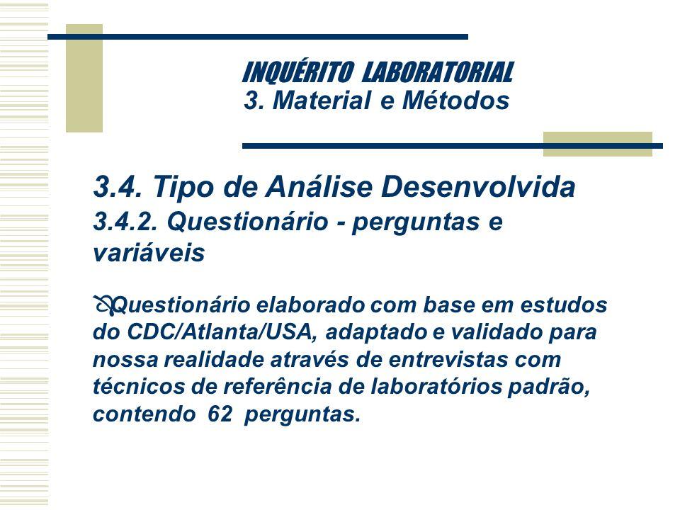 INQUÉRITO LABORATORIAL 3. Material e Métodos 3.4. Tipo de Análise Desenvolvida 3.4.1. Tratamento dos dados Ô Os dados obtidos através do questionário