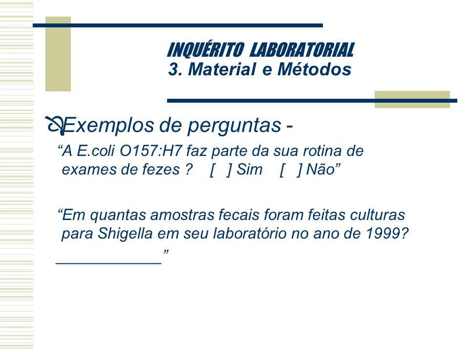 INQUÉRITO LABORATORIAL 3. Material e Métodos 3.4. Tipo de Análise Desenvolvida 3.4.2. Questionário - perguntas e variáveis Ô Questionário elaborado co