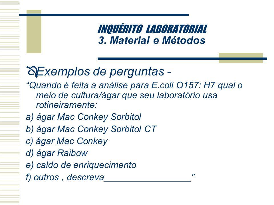 INQUÉRITO LABORATORIAL 3. Material e Métodos ÔExemplos de perguntas - A E.coli O157:H7 faz parte da sua rotina de exames de fezes ? [ ] Sim [ ] Não Em