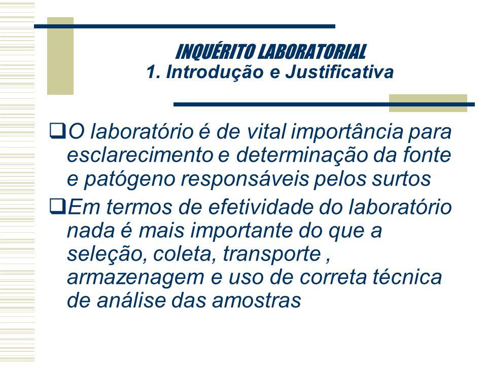 INQUÉRITO LABORATORIAL 1. Introdução e Justificativa qDesconhecimento dos profissionais de saúde sobre a importância da notificação e solicitação de e