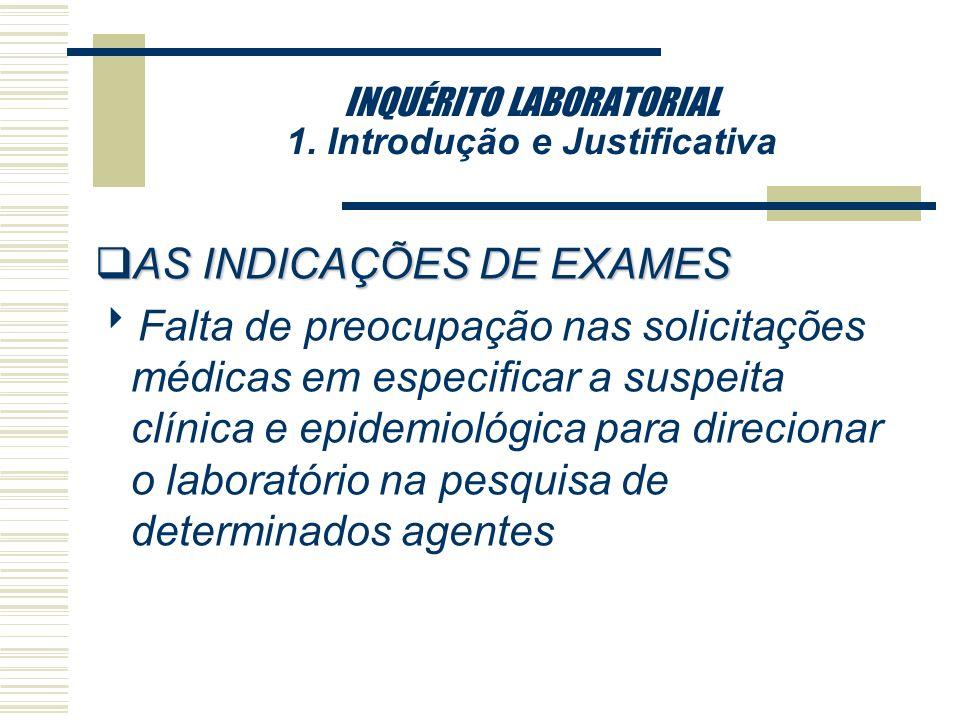 INQUÉRITO LABORATORIAL 1. Introdução e Justificativa qDificuldades enfrentadas em relação a tecnologias ainda não disponíveis no Brasil para todos os