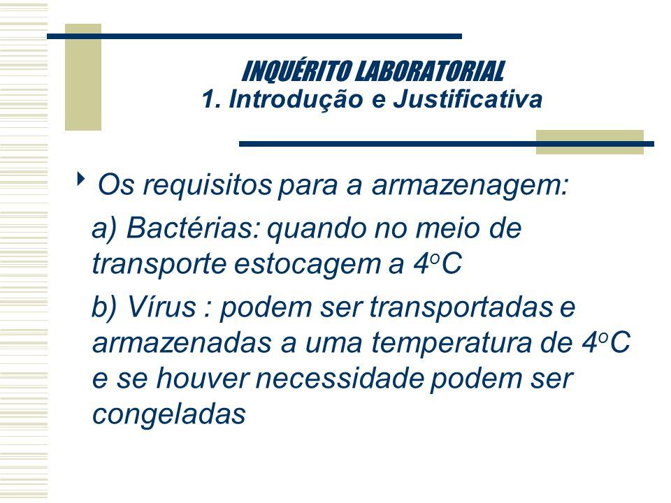 INQUÉRITO LABORATORIAL 1. Introdução e Justificativa Os requisitos para a coleta: a)Parasitas: recomendado o uso do preservante para manter a integrid