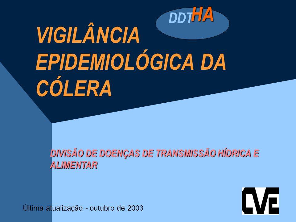 VIGILÂNCIA DA CÓLERA CÓLERA Doença infecciosa intestinal aguda causada pelo Vibrio cholerae, veiculada pela ÁGUA e ALIMENTOS contaminados por fezes ou vômitos de doentes ou portadores.