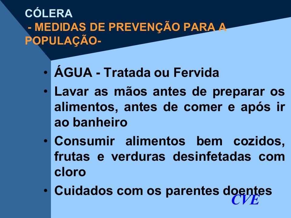 CÓLERA - MEDIDAS DE PREVENÇÃO PARA A POPULAÇÃO- ÁGUA - Tratada ou Fervida Lavar as mãos antes de preparar os alimentos, antes de comer e após ir ao ba