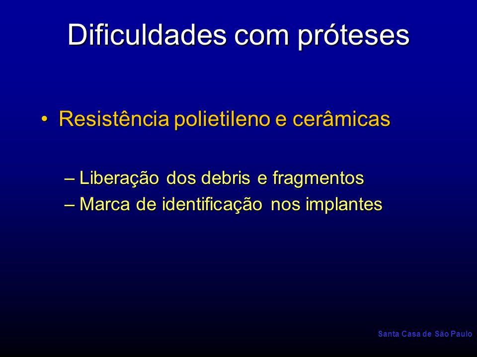 Santa Casa de São Paulo Dificuldades com próteses Resistência polietileno e cerâmicasResistência polietileno e cerâmicas –Liberação dos debris e fragm