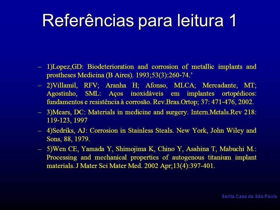 Santa Casa de São Paulo Referências para leitura 1 –1)Lopez,GD: Biodeterioration and corrosion of metallic implants and prostheses Medicina (B Aires).