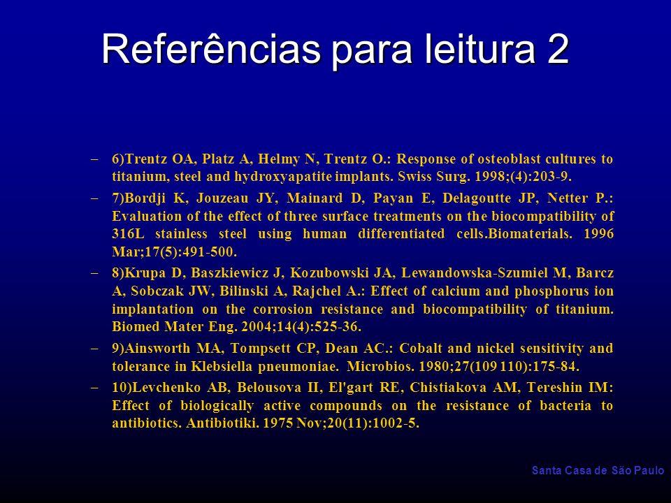Santa Casa de São Paulo Referências para leitura 2 –6)Trentz OA, Platz A, Helmy N, Trentz O.: Response of osteoblast cultures to titanium, steel and h