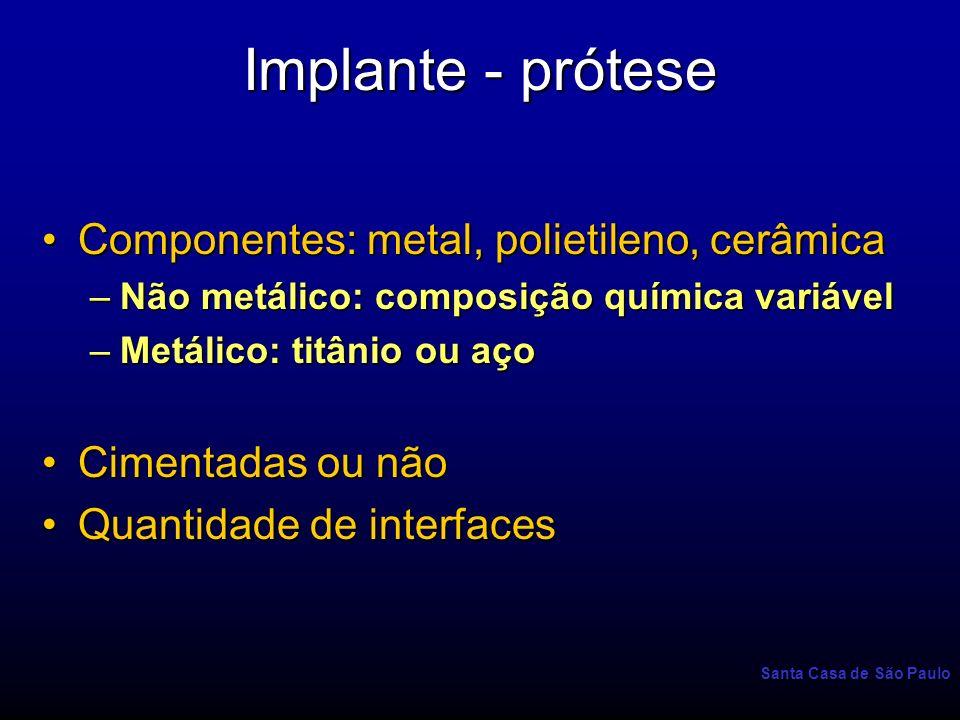 Santa Casa de São Paulo Implante - prótese Componentes: metal, polietileno, cerâmicaComponentes: metal, polietileno, cerâmica –Não metálico: composiçã