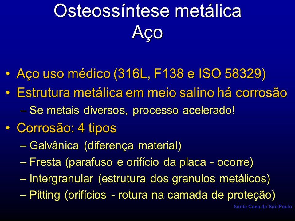 Santa Casa de São Paulo Osteossíntese metálica Aço Aço uso médico (316L, F138 e ISO 58329)Aço uso médico (316L, F138 e ISO 58329) Estrutura metálica e