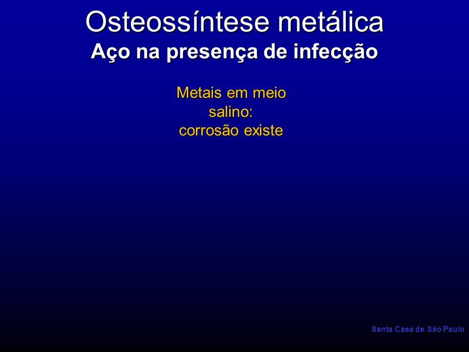 Santa Casa de São Paulo Osteossíntese metálica Aço na presença de infecção Metais em meio salino: corrosão existe Interfaces: estáse de líqüido corrosão maior