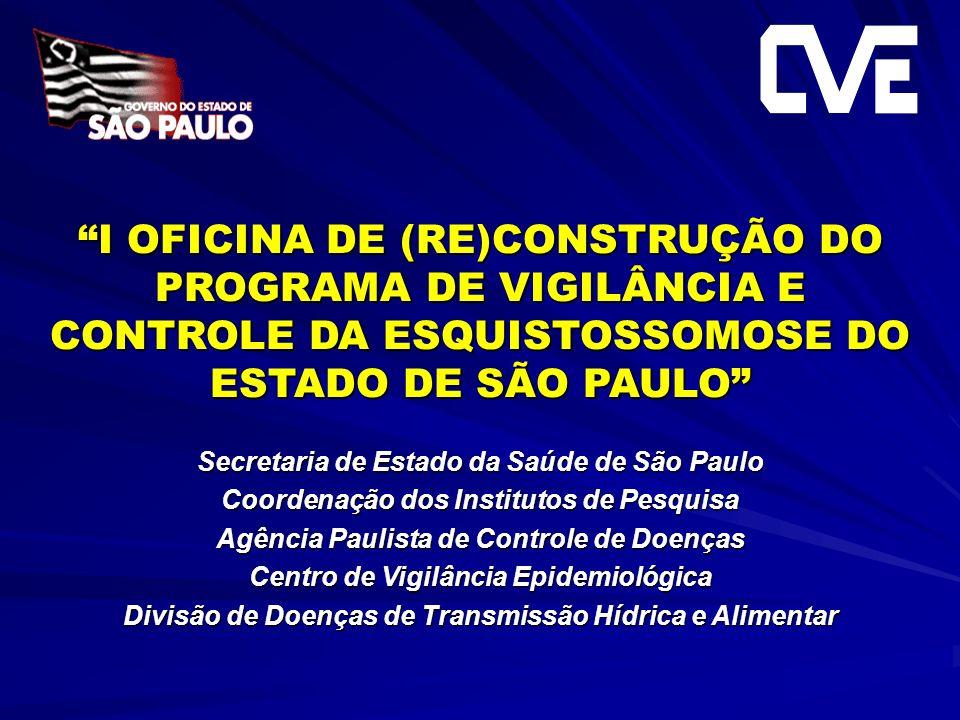 I OFICINA DE (RE)CONSTRUÇÃO DO PROGRAMA DE VIGILÂNCIA E CONTROLE DA ESQUISTOSSOMOSE DO ESTADO DE SÃO PAULO Secretaria de Estado da Saúde de São Paulo
