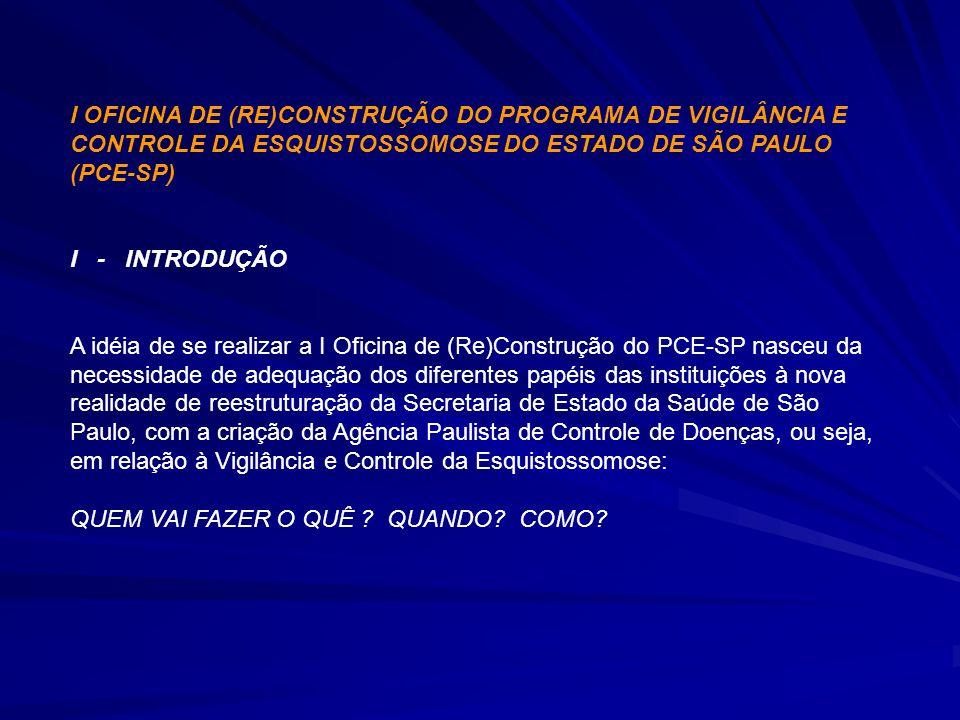 I OFICINA DE (RE)CONSTRUÇÃO DO PROGRAMA DE VIGILÂNCIA E CONTROLE DA ESQUISTOSSOMOSE DO ESTADO DE SÃO PAULO (PCE-SP) I - INTRODUÇÃO A idéia de se reali