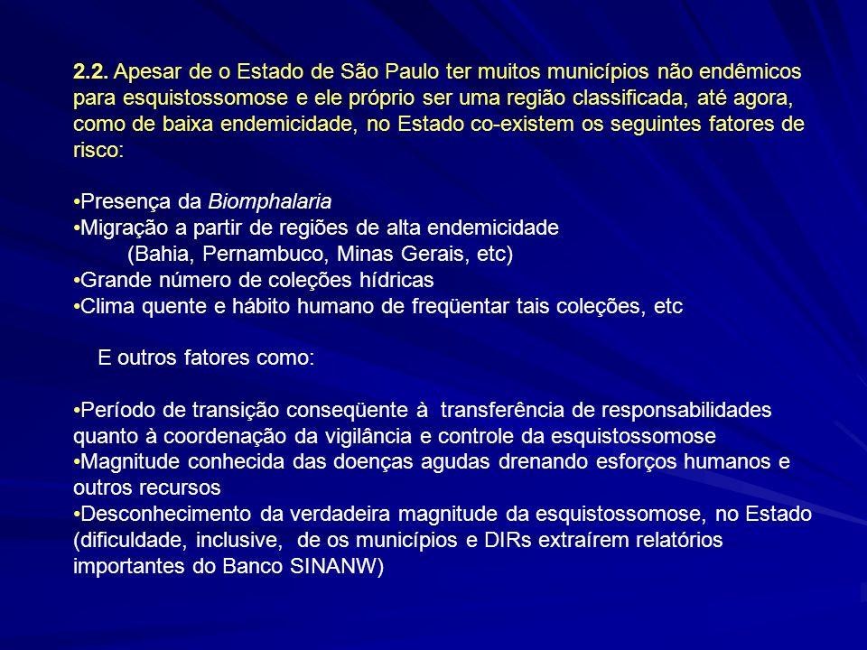 2.2. Apesar de o Estado de São Paulo ter muitos municípios não endêmicos para esquistossomose e ele próprio ser uma região classificada, até agora, co