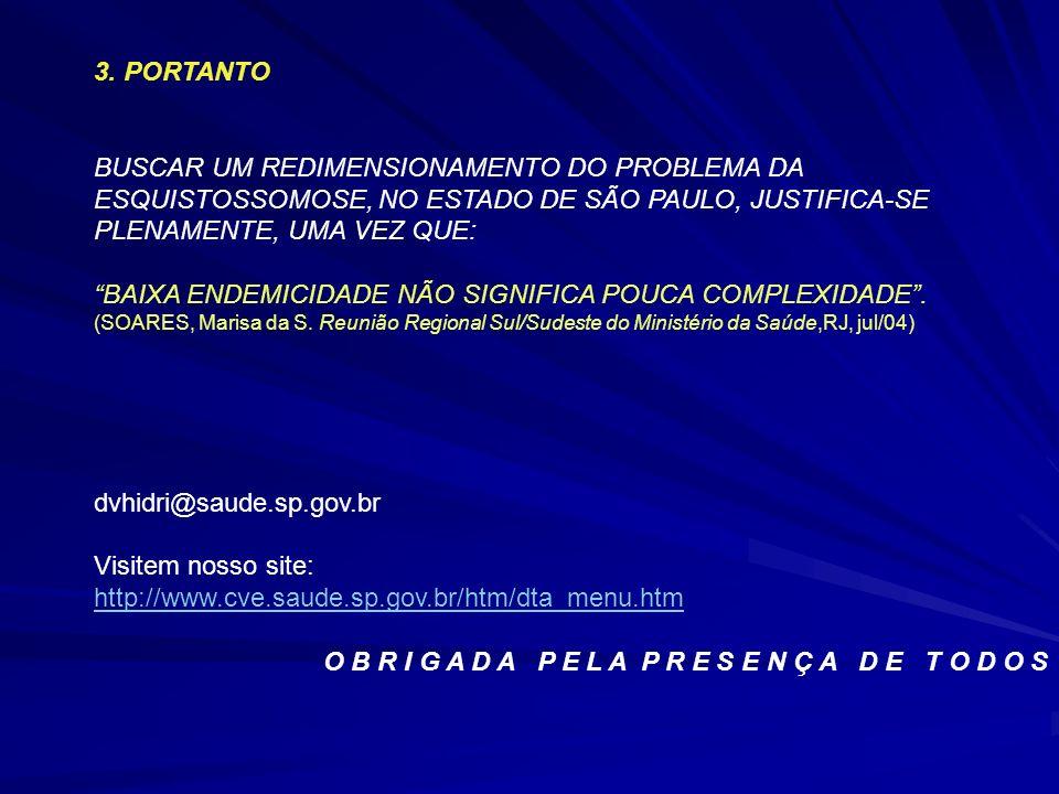 3. PORTANTO BUSCAR UM REDIMENSIONAMENTO DO PROBLEMA DA ESQUISTOSSOMOSE, NO ESTADO DE SÃO PAULO, JUSTIFICA-SE PLENAMENTE, UMA VEZ QUE: BAIXA ENDEMICIDA