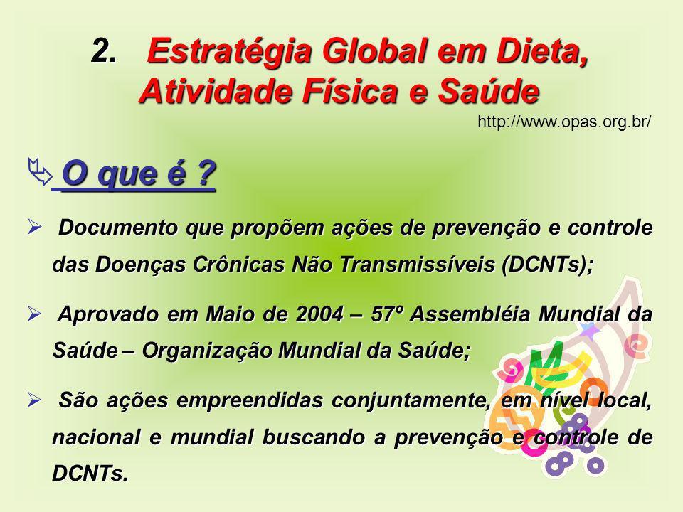 2. Estratégia Global em Dieta, Atividade Física e Saúde http://www.opas.org.br/ O que é ? Documento que propõem ações de prevenção e controle das Doen