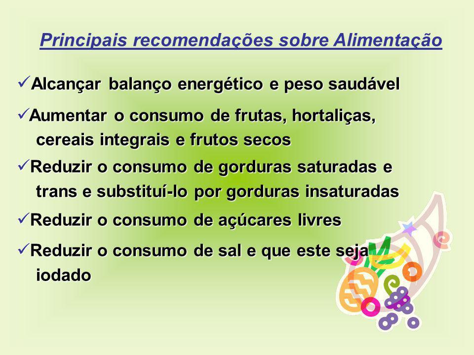 Principais recomendações sobre Alimentação Alcançar balanço energético e peso saudável Aumentar o consumo de frutas, hortaliças, Aumentar o consumo de