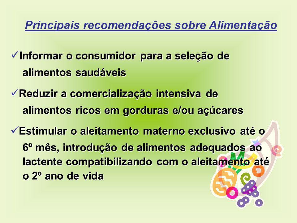 Principais recomendações sobre Alimentação Informar o consumidor para a seleção de alimentos saudáveis alimentos saudáveis Reduzir a comercialização i