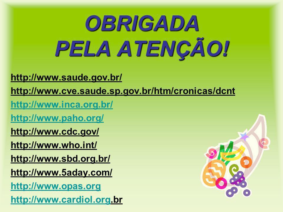 OBRIGADA PELA ATENÇÃO! http://www.saude.gov.br/ http://www.cve.saude.sp.gov.br/htm/cronicas/dcnt http://www.inca.org.br/ http://www.paho.org/ http://w